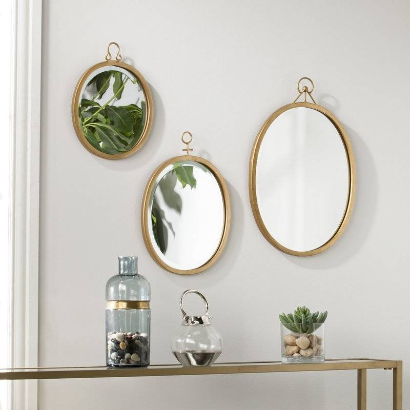 Brayden Studio 3 Piece Oval Metal Frame Mirror Set & Reviews | Wayfair In Wall Mirror Sets Of  (#6 of 15)