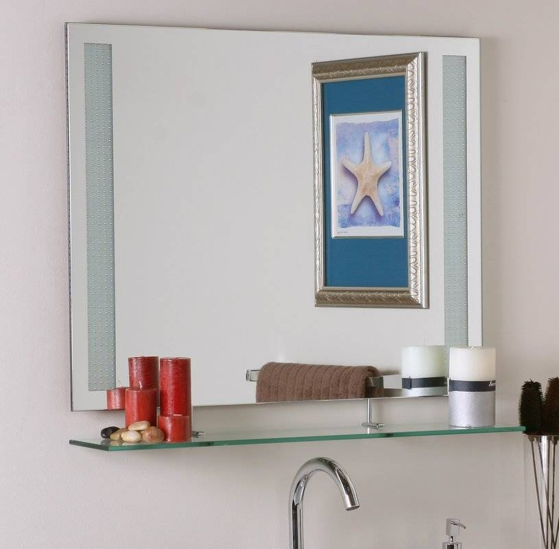 Brayden Studio Frameless Wall Mirror With Shelf & Reviews | Wayfair Throughout Wall Mirrors With Shelf (#6 of 15)
