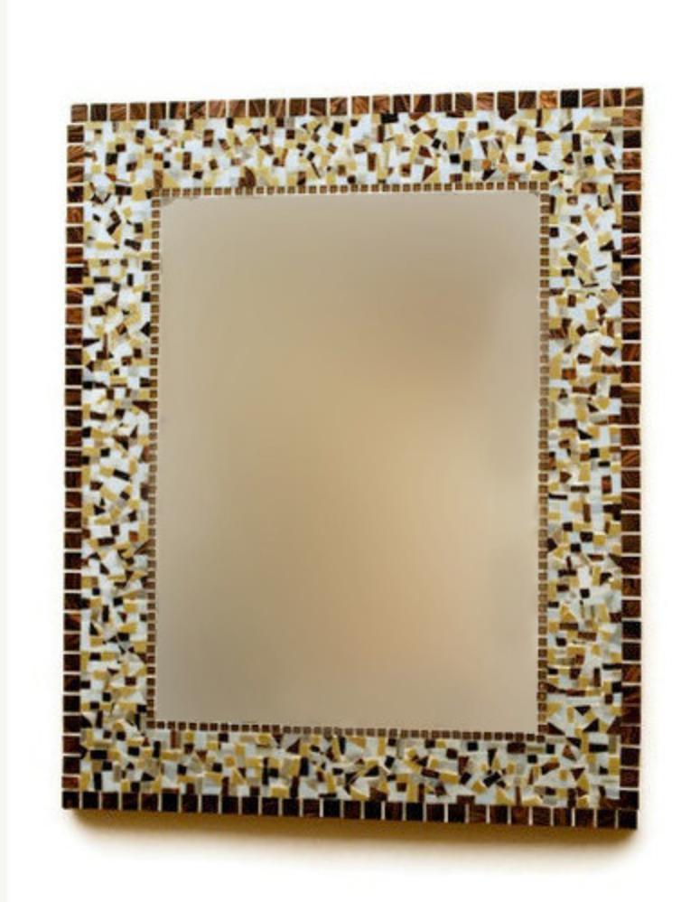 Brown Mosaic Wall Mirror – : Regarding Brown Wall Mirrors (#5 of 15)