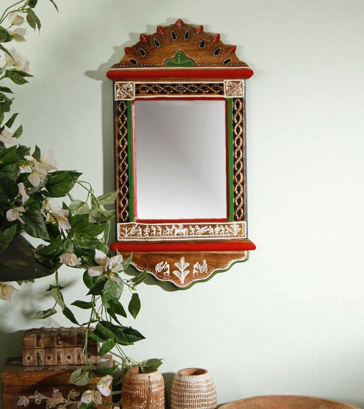 Brown Warli Painted Wooden Wall Mirror | Indian – Ethnic Home Intended For Ethnic Wall Mirrors (#4 of 15)