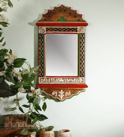 Buy Brown Wood Warli Painted Wall Mirrorunravel India Online Intended For Painted Wall Mirrors (#7 of 15)
