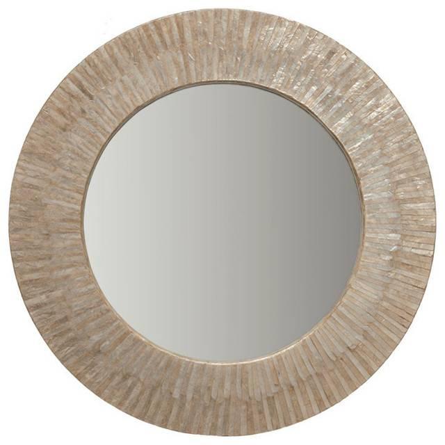 Capiz Seashell Round Wall Mirror – Beach Style – Wall Mirrors Pertaining To Beachy Wall Mirrors (#11 of 15)