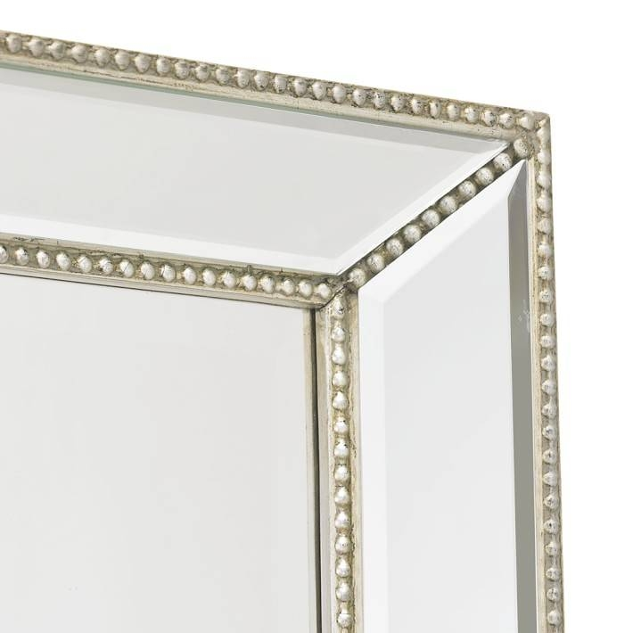 Channing Silver Beaded Floor Mirror | Williams Sonoma Within Beaded Wall Mirrors (#9 of 15)