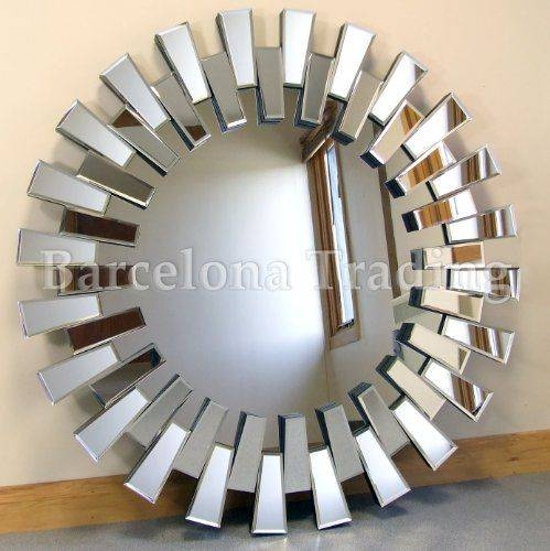 """Chelsea Art Deco Bevelled Venetian Round Wall Mirror 39"""" Diameter Throughout Large Round Wall Mirrors (#3 of 15)"""