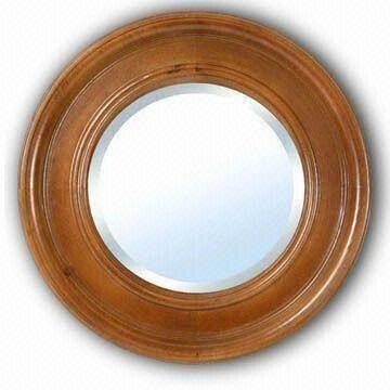 China Round Wooden Framed Wall Bathroom Mirror, Available In For Round Wood Framed Mirrors (#4 of 15)