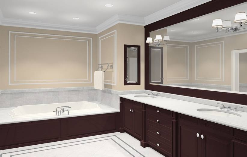 Chocolate Brown Wooden Frame Bathroom Wall Mirror – Interior Design For Frame Bathroom Wall Mirrors (View 6 of 15)