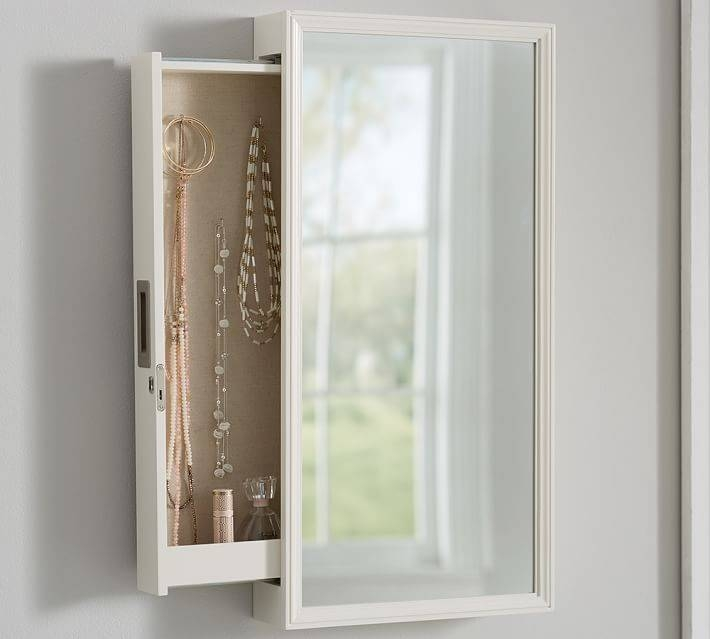 Clara Wall Mounted Jewelry Mirror | Pottery Barn Within Wall Mirrors With Jewelry Storage (#12 of 15)