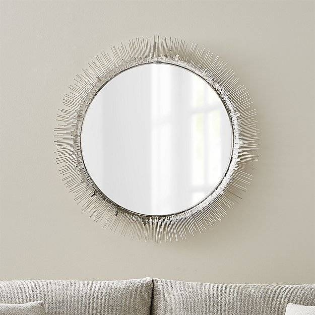 Clarendon Large Round Silver Wall Mirror | Crate And Barrel Inside Large Circular Wall Mirrors (#7 of 15)