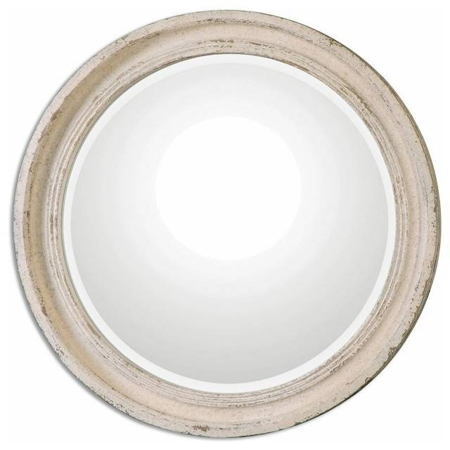 Classic Round Wall Mirror Ivory Cream, Distressed Vanity Throughout Ivory Wall Mirrors (#5 of 15)