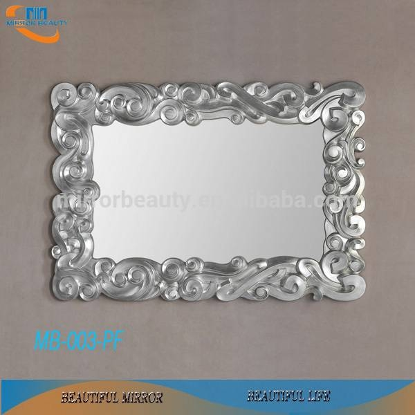 Classic Silver Leaf Interior Large Pu Framed Wall Mirror For Home In Large Silver Framed Wall Mirror (#8 of 15)