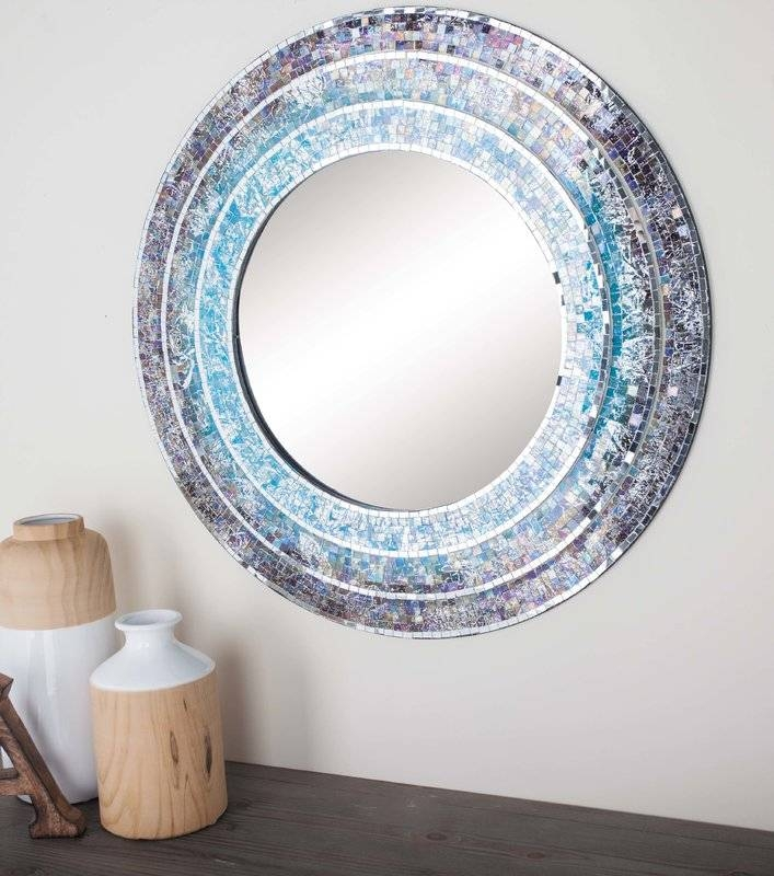 Cole & Grey Wood Turquoise Mosaic Wall Mirror & Reviews | Wayfair Throughout Turquoise Wall Mirrors (#4 of 15)
