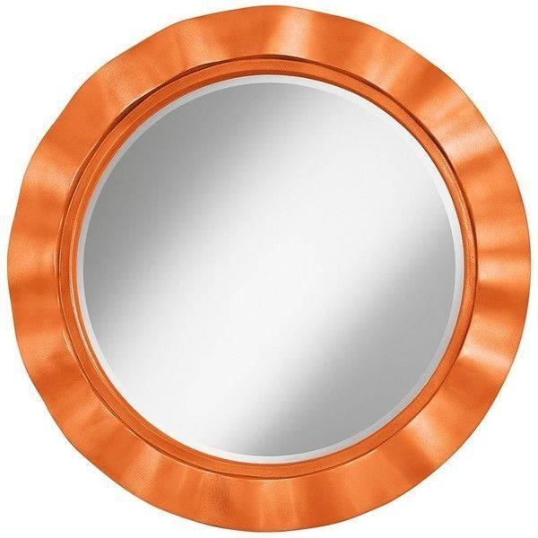 "Color Plus Burnt Orange Metallic 32"" Round Brezza Wall Mirror Pertaining To Orange Wall Mirrors (#6 of 15)"
