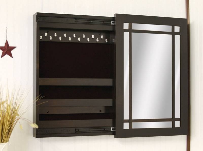 Compact Wall Mounted Jewelry Box With Sliding Mirror – Ohio With Jewelry Armoire Wall Mirrors (#3 of 15)