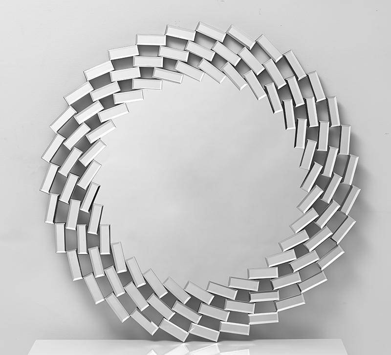 Contemporary Round Wall Mirrors With Spiral Effect Mosaic Frame Throughout Modern Round Wall Mirrors (#2 of 15)