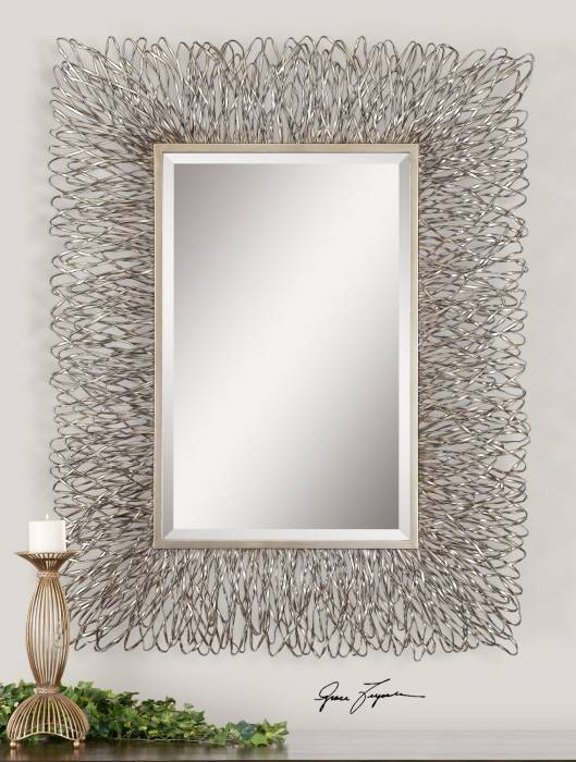 """Contemporary Silver Wire Metal Wall Mirror Large 56"""" With Silver Framed Wall Mirrors (View 2 of 15)"""