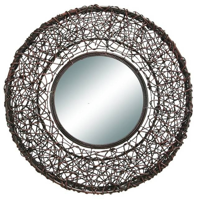 Contemporary Style Round Wall Mirror Woven Brown Rattan Frame Within Brown Wall Mirrors (#6 of 15)