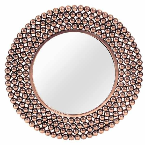 Copper Finish Bead Effect Round Framed Wall Mirror Inside Copper Wall Mirrors (View 3 of 15)