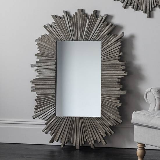 Corsley Starburst Wall Mirror Rectangular In Grey Weathered For Grey Wall Mirrors (#6 of 15)