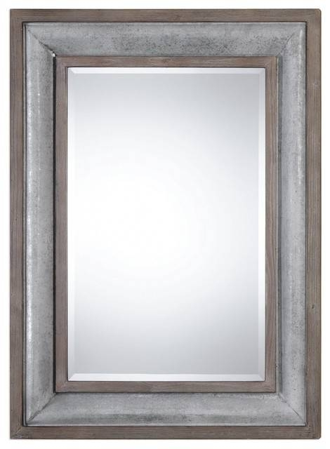 Cottage Chic Galvanized Metal Wall Mirror, Vintage Style 45 Within Distressed Wood Wall Mirrors (View 8 of 15)