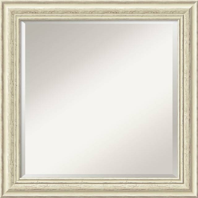 Country Whitewash Square Wall Mirror – Traditional – Wall Mirrors Throughout Traditional Wall Mirrors (#4 of 15)
