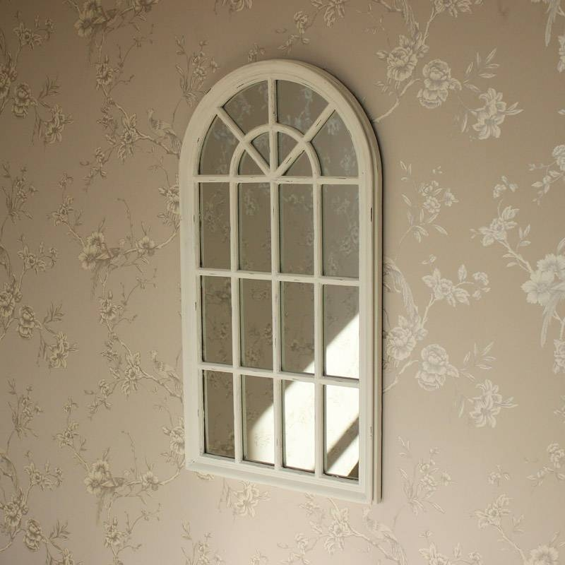 Cream Arched Window Mirror – Melody Maison® Throughout Window Wall Mirrors (#6 of 15)