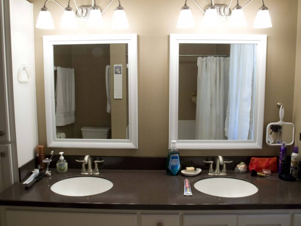 Cream Wall Paint Mirror With White Wooden Frame Granite Countertop Regarding Decorative Mirrors For Bathroom Vanity (#8 of 15)