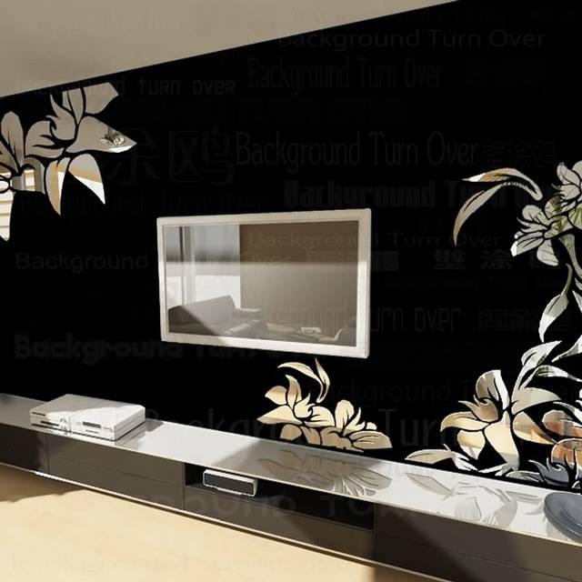 Creative Diagonal Elegant Plant Flower Large Wall Mirror Stickers Regarding Wall Mirror Stickers (#4 of 15)
