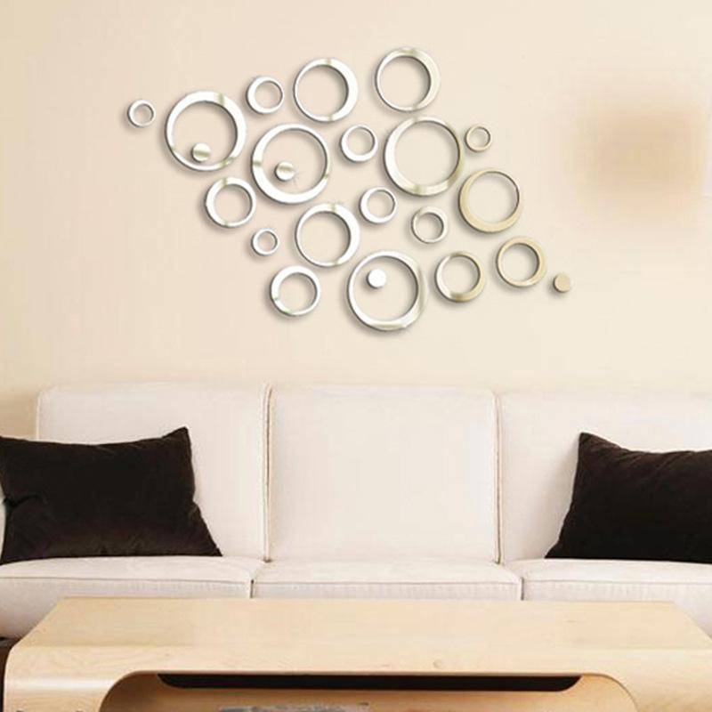 Creative Diy Circle Flower Crystal Acrylic Decorative Wall Mirror Within Wall Mirror Stickers (#5 of 15)