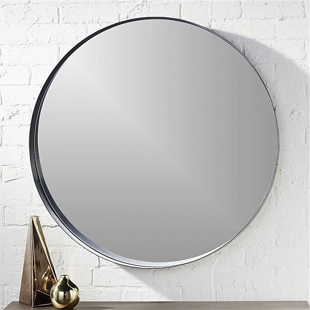 Crescent Round Iron Mirror | Cb2 Pertaining To Round Wall Mirrors (#4 of 15)