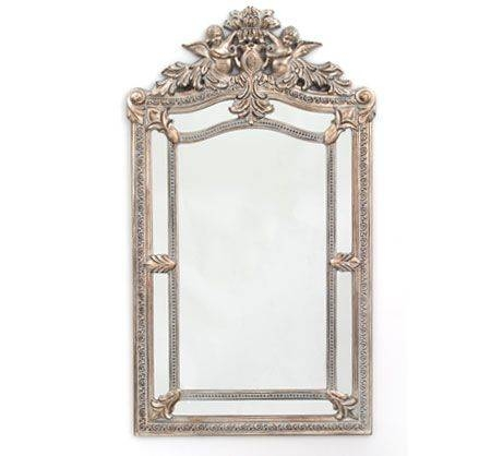 """Cresthill"""" Wall Mirror In Pewter With Rococo Damask Swirls & Putti Pertaining To Pewter Wall Mirrors (#5 of 15)"""