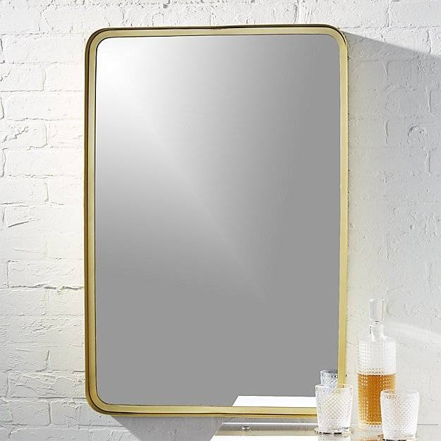 Croft Brass Rectangular Mirror | Cb2 Throughout Wall Mirrors 24 X (View 14 of 15)