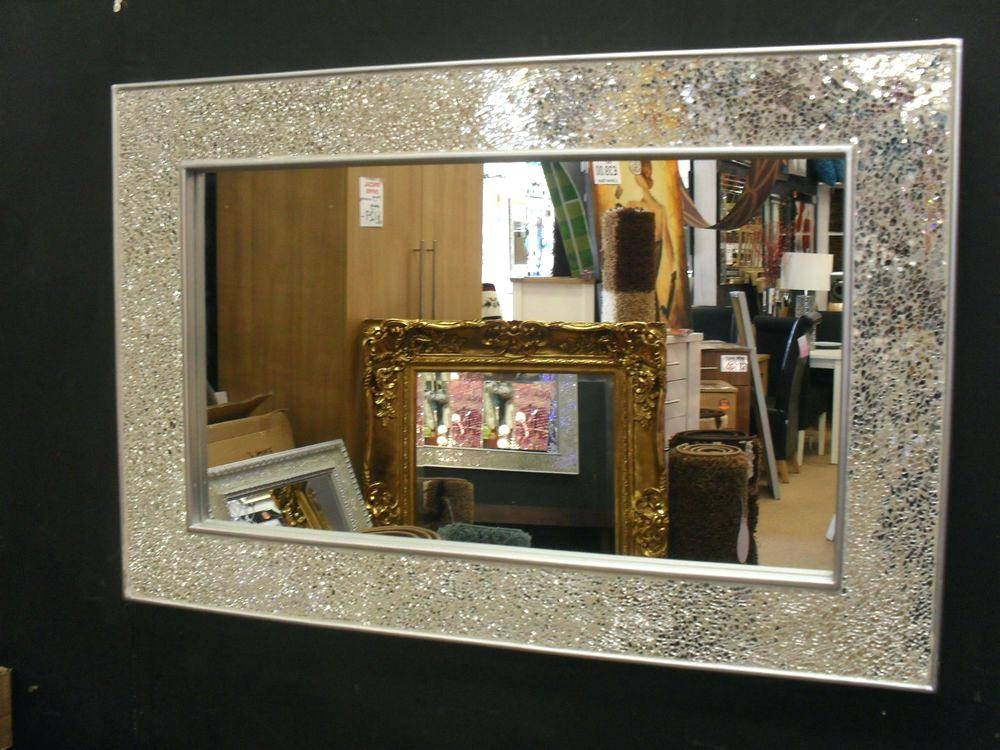 Crushed Glass Mosaic Rectangular Wall Mirror Product Title With Regard To Plain Wall Mirrors (#5 of 15)