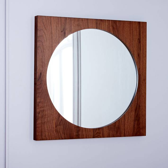 Curved Cutaway Wall Mirror – Walnut | West Elm Throughout Walnut Wall Mirrors (View 6 of 15)