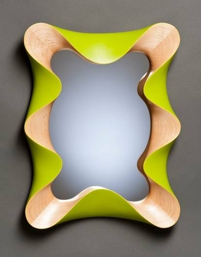 Custom Contemporary Wall Mirror In Carved Maple And Lime Green With Regard To Green Wall Mirrors (View 13 of 15)