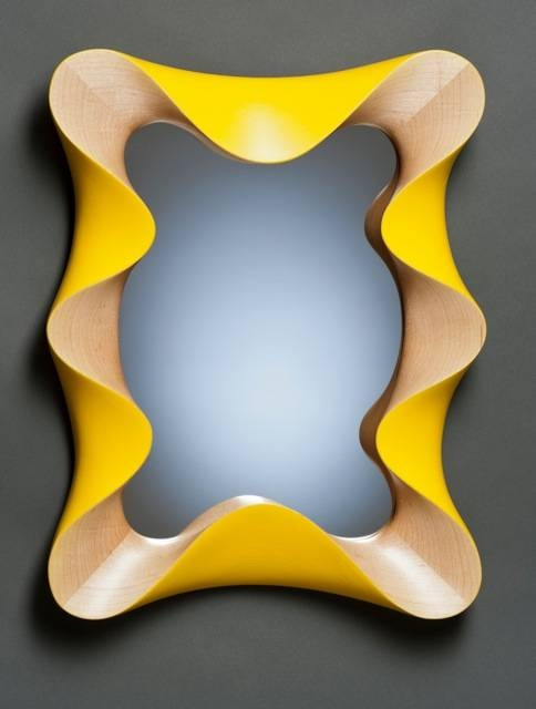 Custom Modern Wall Mirror In Carved Maple And Yellow Paint | David Throughout Yellow Wall Mirrors (#9 of 15)