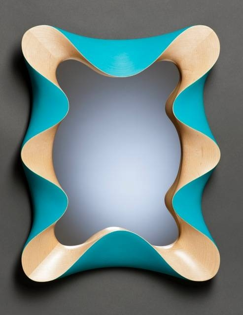 Custom Modern Wall Mirror In Carved Vermont Sugar Maple And Pertaining To Turquoise Wall Mirrors (#5 of 15)