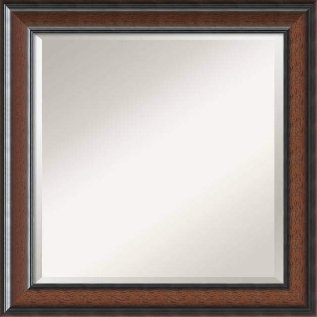 """Cyprus Walnut Wall Mirror, Square' 25""""x25"""" – Contemporary – Wall Throughout Walnut Wall Mirrors (View 13 of 15)"""