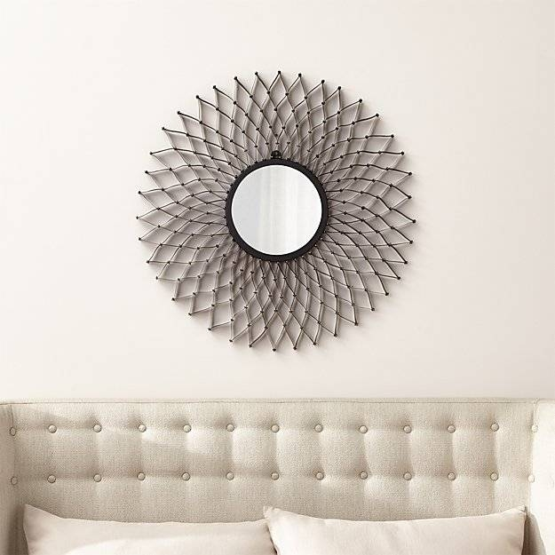 Dahlia Round Wall Mirror | Crate And Barrel Within Round Wall Mirrors (#5 of 15)
