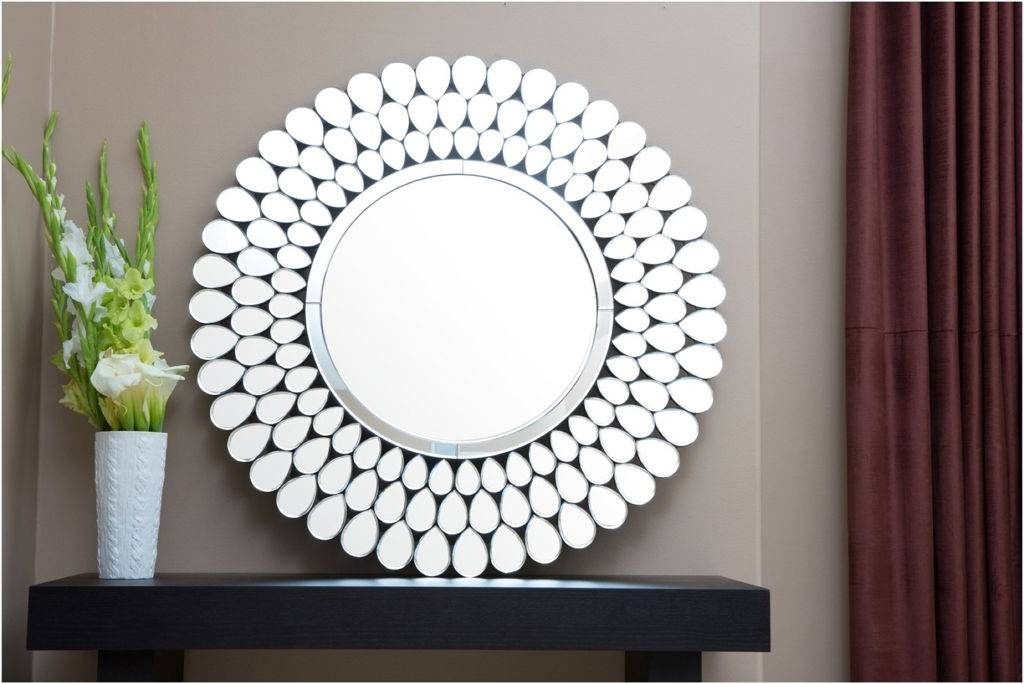 Decorations : Divine Round Wall Mirror Design Ideas With Brown In Flower Wall Mirrors (#6 of 15)