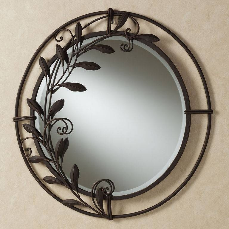 Decorations : Divine Round Wall Mirror Design Ideas With Brown Within Painted Wall Mirrors (#8 of 15)