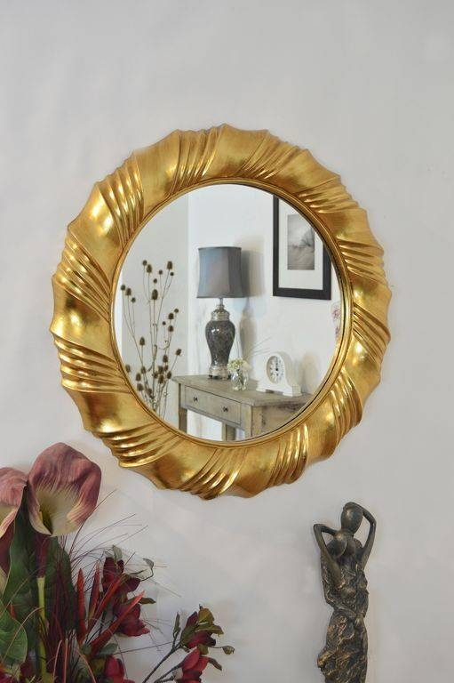 Decorations : Fancy Decorative Round Wall Mirror With Gold Frame In Painted Wall Mirrors (#9 of 15)