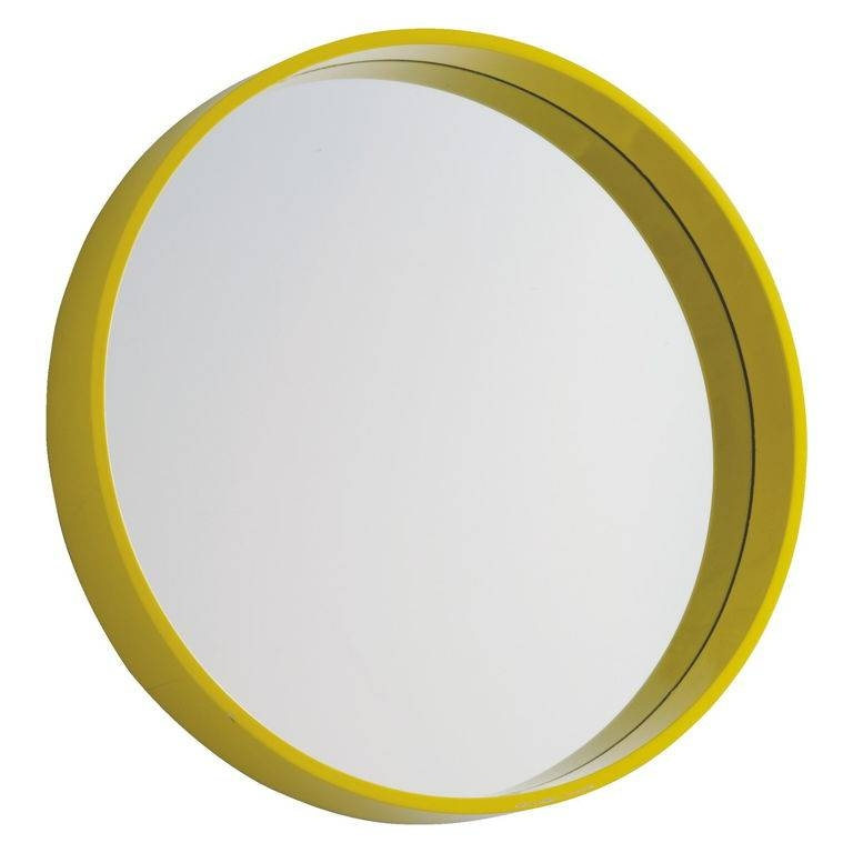 Decorations : Modern Round Wall Mirror Ideas With Yellow Plastic Throughout Yellow Wall Mirrors (#10 of 15)