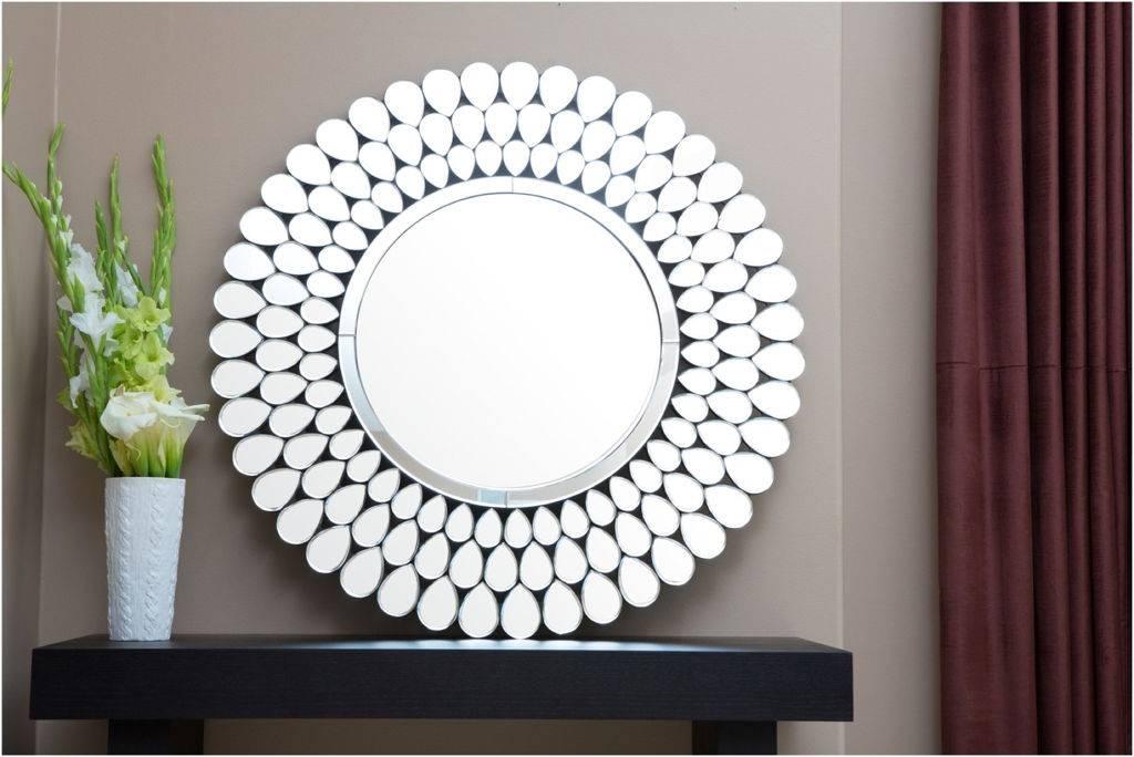 Decorations : Tasteful Round Wall Mirror Having Black Iron Frame Regarding Painted Wall Mirrors (#10 of 15)