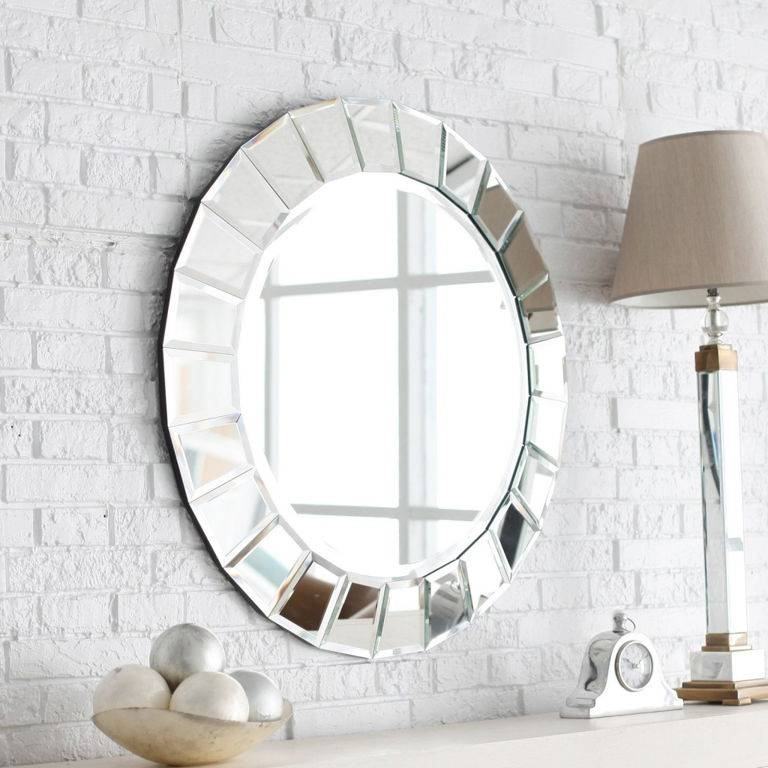 Decorations : Unique Gold Brushed Frame Round Wall Mirror On Cream In Painted Wall Mirrors (#11 of 15)