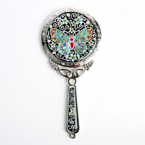 Decorative Hand Mirror With Mother Of Pearl Butterfly Design With Regard To Decorative Hand Mirrors (#9 of 15)