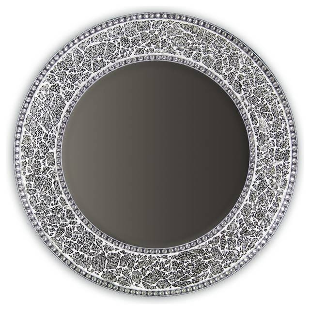 Decorative Round Framedwall Mirror Glass Mosaic, 24 In Silver Round Wall Mirrors (View 12 of 15)