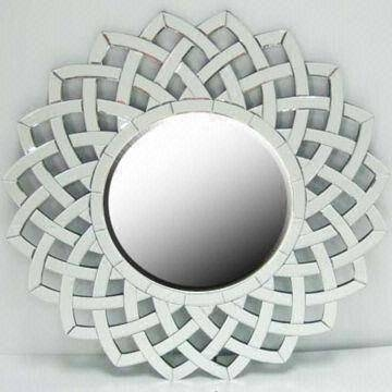 Decorative Round Wall Mirror With Smooth Polished Edge | Global Pertaining To White Round Wall Mirrors (#5 of 15)