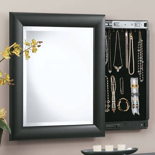 Decorative Wall Mirror And Jewely Organizer In Jewelry Cabinets Intended For Jewelry Wall Mirrors (View 7 of 15)