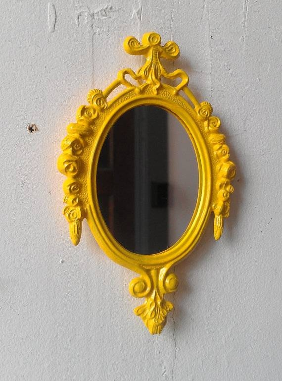 Decorative Wall Mirror Yellow Home Decor Apartment Wall Pertaining To Yellow Wall Mirrors (#11 of 15)