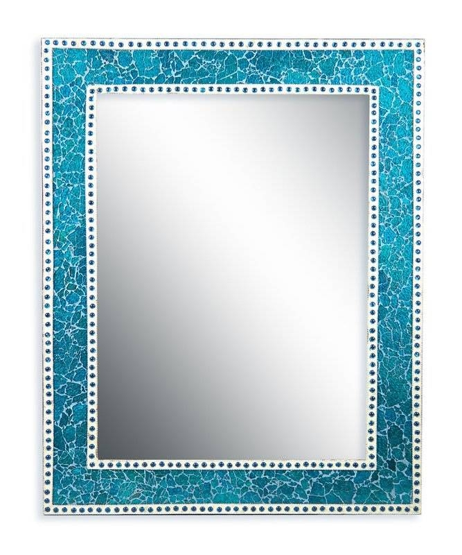 Decorshore Crackled Glass Decorative Wall Mirror & Reviews | Wayfair With Regard To Turquoise Wall Mirrors (#7 of 15)